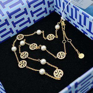 Tory Burch Cutout Logo Pearl Necklace
